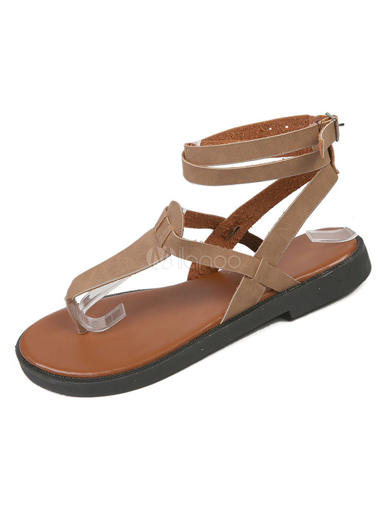 Buy Women Flat Sandals Brown Flip Flops Thong Buckle Detail Ankle Strap Sandal Shoes for $21.24 in Milanoo store