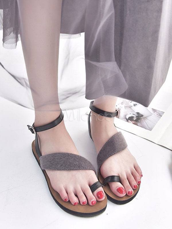 Toe Strappy Loop Sandalias Grises Tobillera Mujeres Planas Correa Zapatos 8ym0ONwvn