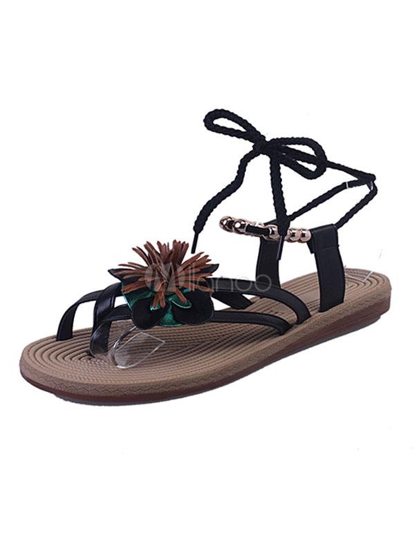 d9adb499e5b709 Black Flat Sandals Toe Loop Flowers Beaded Lace Up Sandal Shoes For  Women-No.