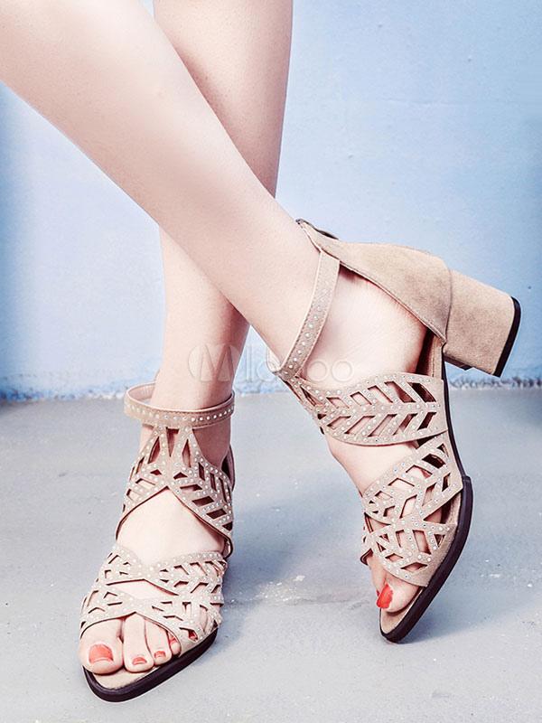 comprar popular d1a2e ed729 Sandalias de tacón grueso Sandalias de tacón bajo con punta abierta  Sandalias de tacón medio Zapatos de mujer