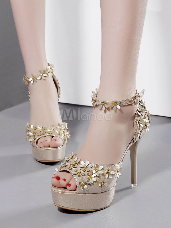 Buy High Heel Sandals Gold Platform Heels Peep Toe Flowers Beaded Ankle Strap Sandal Shoes for $29.24 in Milanoo store