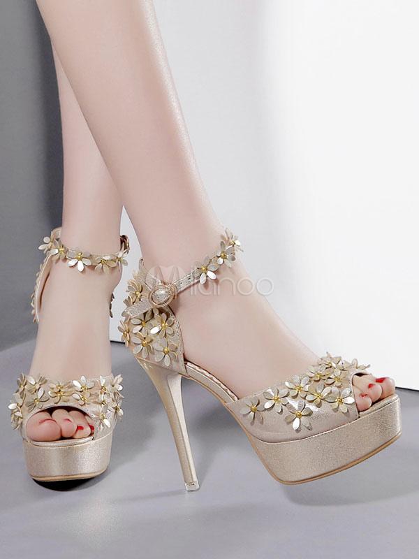 59bc6f1d9a0 ... Sandalias de tacón bajo Tacones de plataforma dorados Peep Toe Flores  Zapatos de sandalia con tira ...