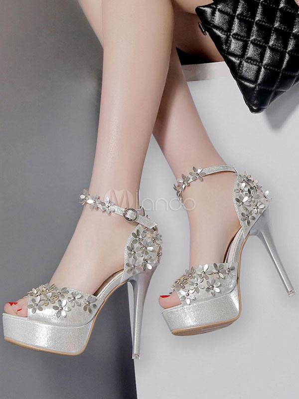 afb51fa1e97 ... Sandalias de tacón bajo Tacones de plataforma dorados Peep Toe Flores  Zapatos de sandalia con tira