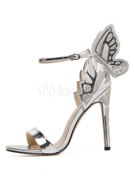 Block Heel Sandals Silver High Heel Sandals Open Toe Butterfly Pattern Ankle Strap Sandal Shoes