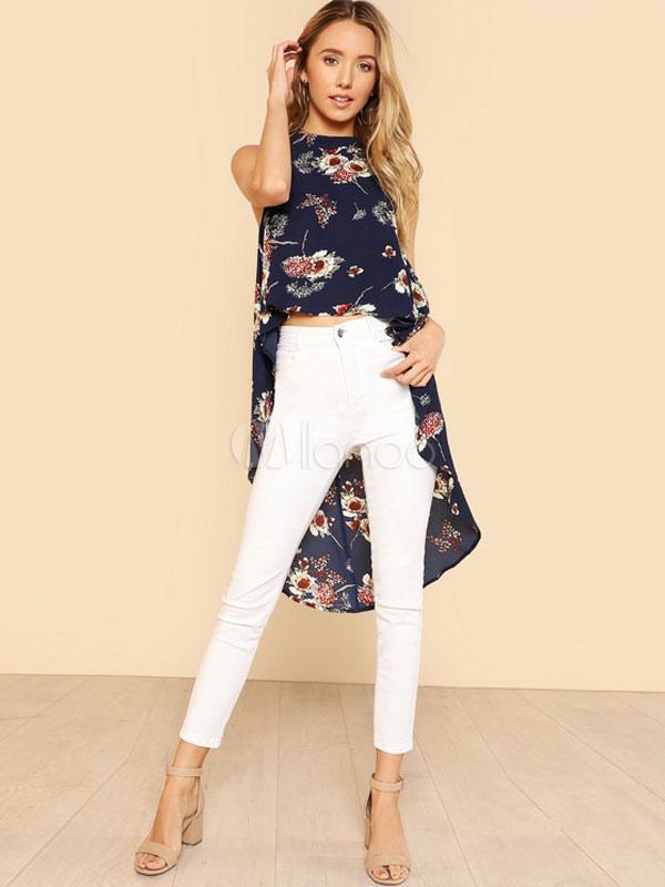 08644738739 ... Women Floral Blouses Sleeveless Chiffon High Low Ink Blue Boho Summer  Top-No.2 ...