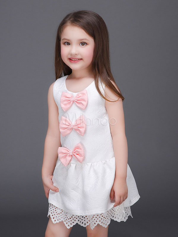 Buy Flower Girl Dresses White Bows Lace Sleeveless A Line Kids Short Party Dress for $23.75 in Milanoo store