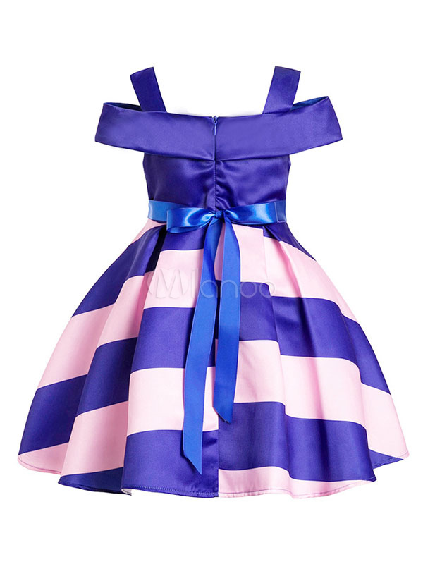 Vestidos de fiesta para niños Royal Blue Cold Shoulder a rayas hasta ...