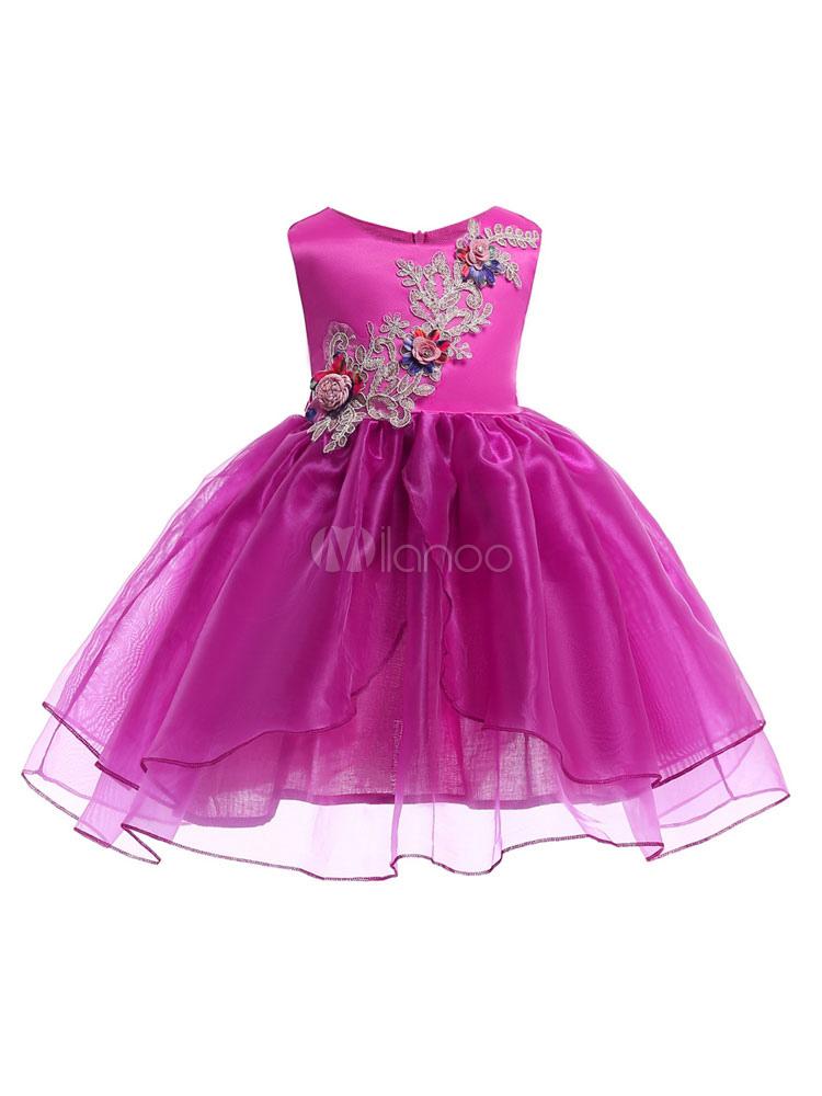 Vestidos de niña de flores de color rosa sin mangas de una línea de ...