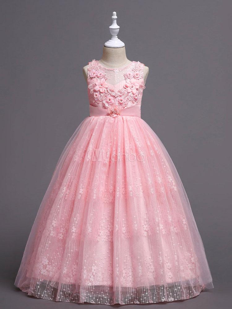 Vestidos de niña de las flores de color rosa Vestidos de fiesta de ...