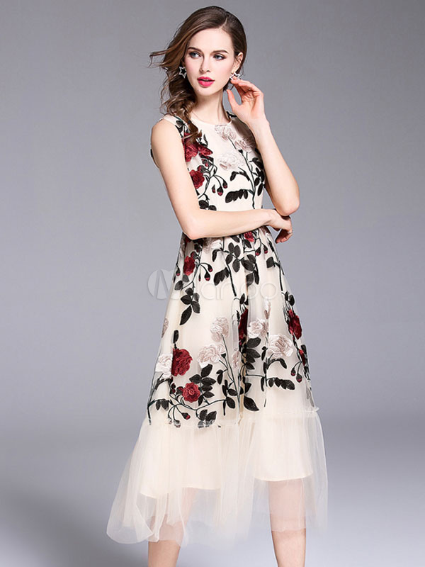 b49fc8f4e621ca ... Long Summer Dress Sleeveless Leaf Embroidered Apricot Tulle Evening  Dress-No.2 ...