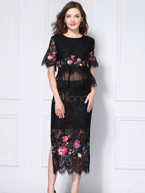 9af31bc225 Conjunto de falda negra con manga corta y top de encaje bordado en verano  con falda ...