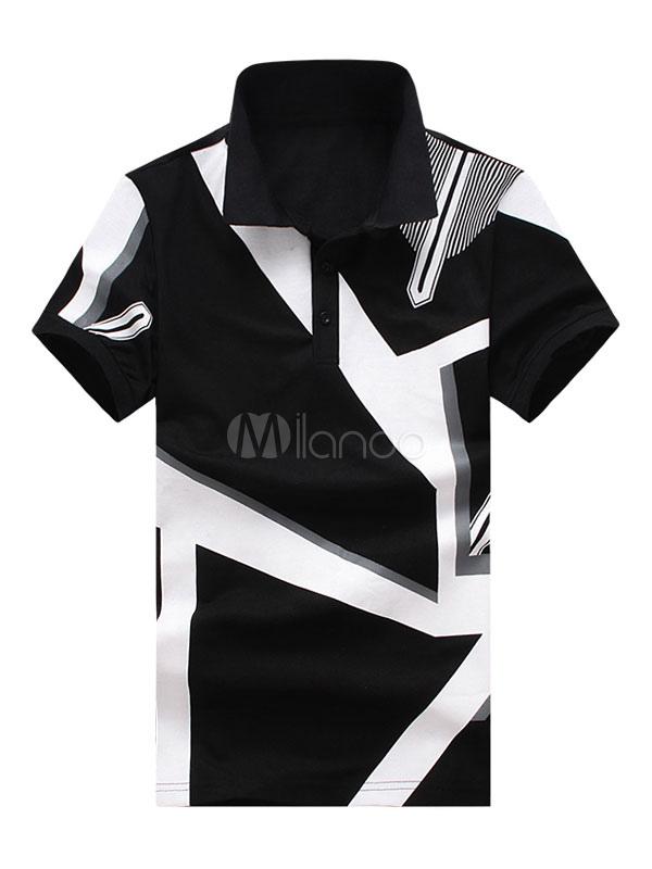 Buy Men Polo Shirt Geometric Print Cotton Top Regular Fit Short Sleeve T Shirt Casual for $21.59 in Milanoo store