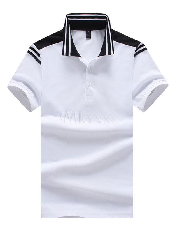 Buy White Polo Shirt Stripe Print Cotton Top Regular Fit Men Short Sleeve T Shirt Casual for $21.59 in Milanoo store