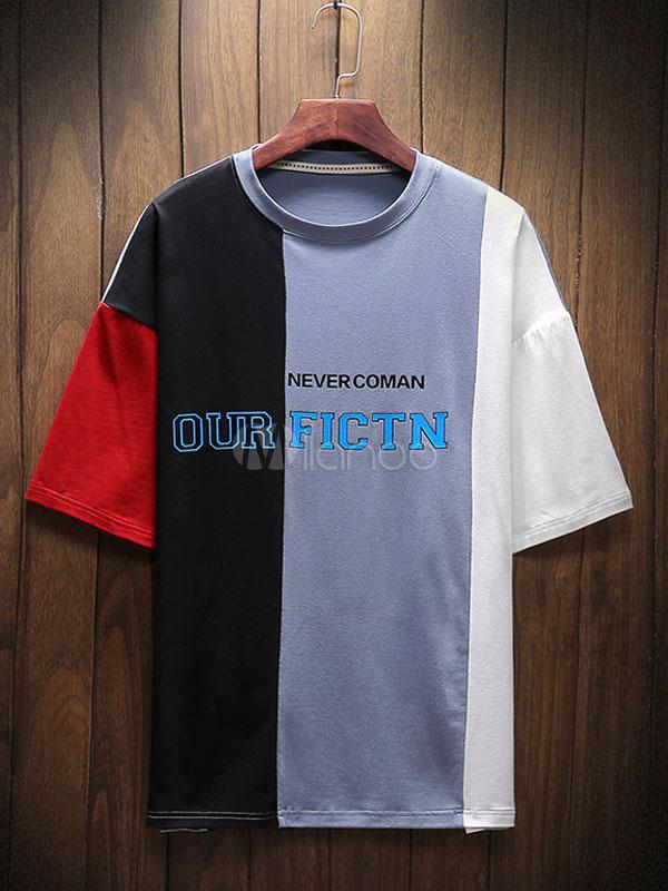 c431b3965fec Cotton Men T Shirt Print Color Block Summer Tee Top Drop Shoulder Relaxed  Fit Half Sleeve ...