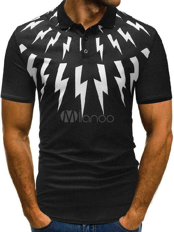 Black Casual T Shirt Print Cotton Short Sleeve Polo Shirt For Men