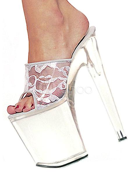 hot sale online 3db9e 962f4 High Heel Sandaletten Weiße Spitze Plattform Peep Toe Backless Stöckel  Absatz Sandalen Frauen Sexy Schuhe