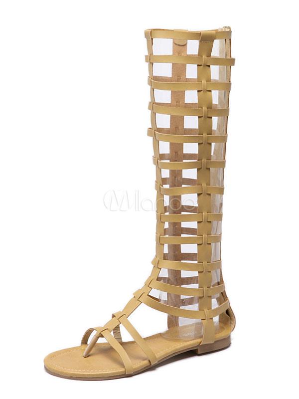 2019 Large Femmes Gladiator Plates Jaune Sandales Bottes 5L4Rjq3A