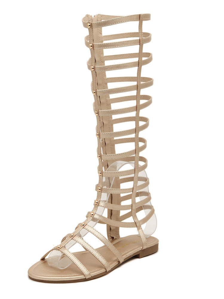 Gold Gladiator Sandals Women Open Toe