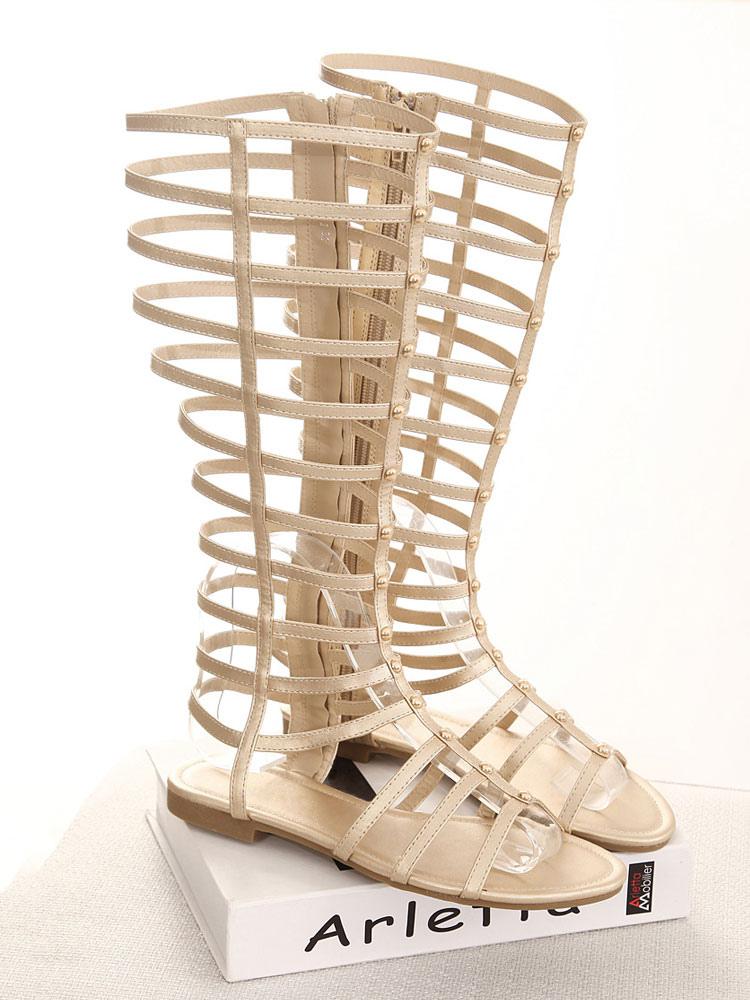 2ae0147d5757 ... Gold Gladiator Sandals Women Open Toe Wide Calf Sandal Boots Flat  Sandals-No.3 ...