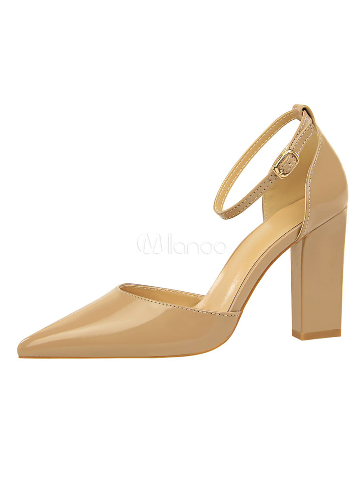 71381bb397a Women High Heels Khaki Pointed Toe Ankle Strap Pumps Chunky Heels-No.1 ...