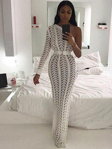 611d5c8c2a1 Sexy Knitted Dress One Shoulder Long Sleeve Crochet Split Bodycon Dress