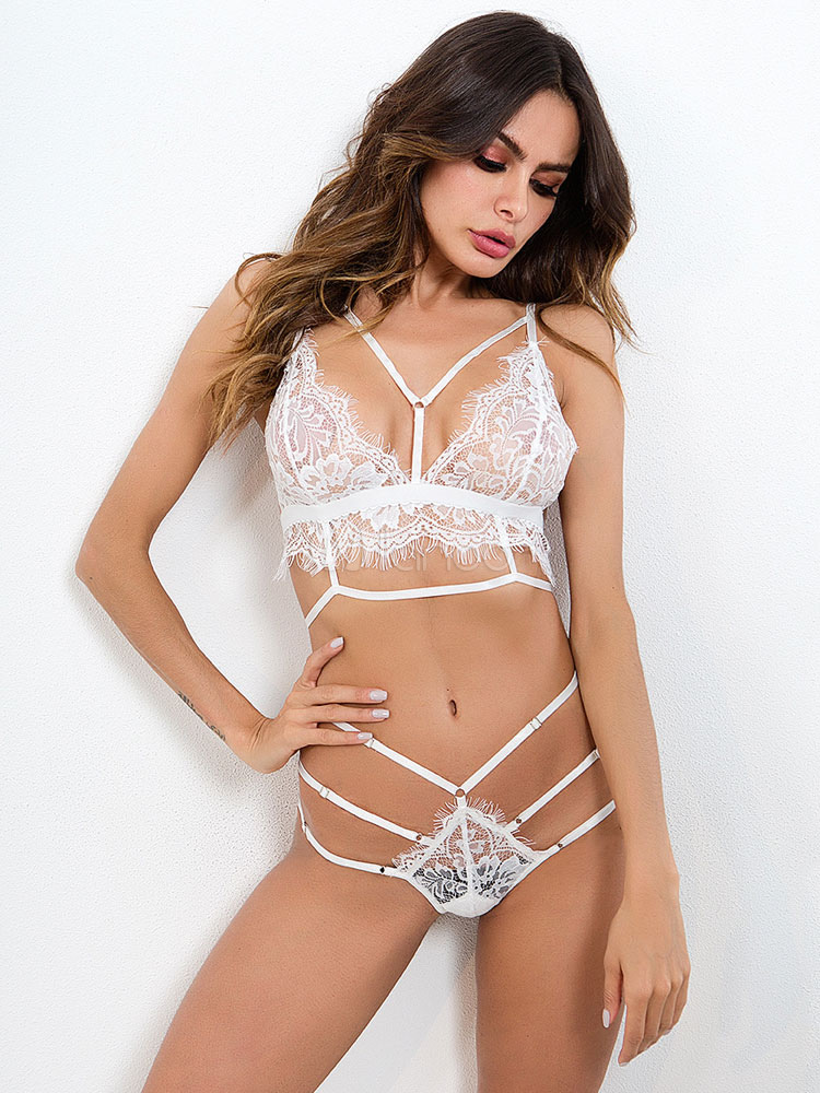 b4bd4ca938 Sexy Bra And Panty Set White Lace Strappy Two Piece Lingerie For Women-No.