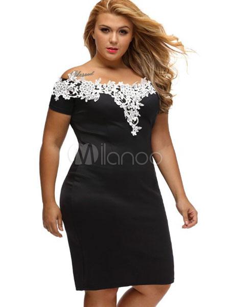 Plus Size Bodycon Dress Black Summer Dress Off The Shoulder Lace ...