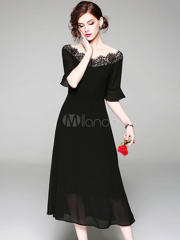 ffff9d042 Vestido longo preto fora do ombro meia manga rendas vestido de verão Vestido  bardot-No ...