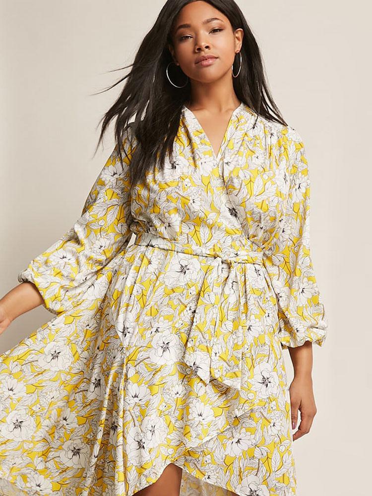 Plus size blumenkleid v ausschnitt unregelm iges gelb sommerkleid - Sommerkleid v ausschnitt ...