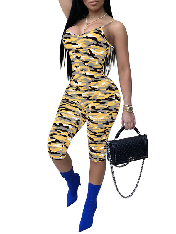 Buy Women Sexy Jumpsuit Straps Camo Print Skinny Summer Jumpsuit for $19.54 in Milanoo store