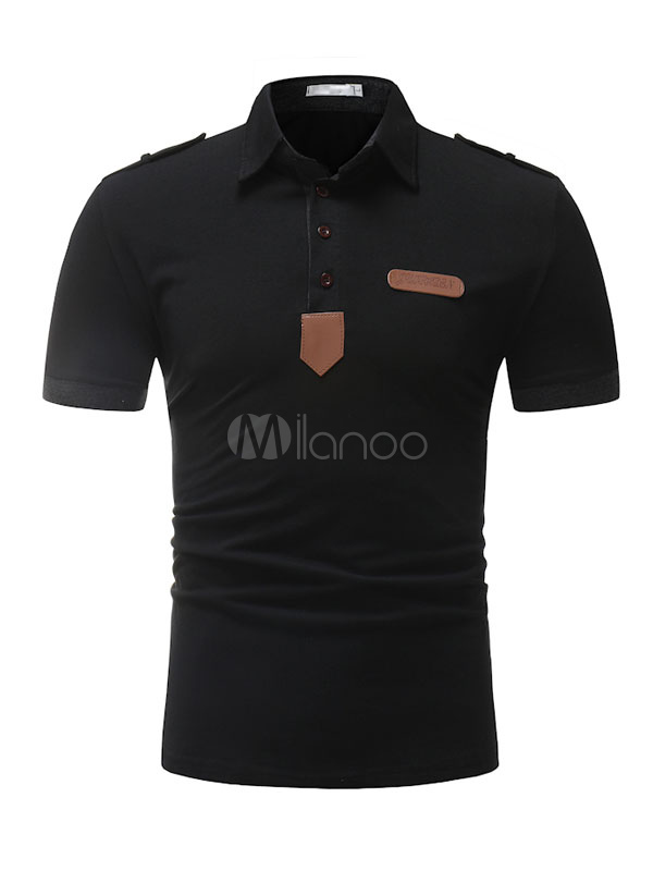 Buy Short Sleeve Polo Shirt PU Patch Cotton Top Regular Fit Casual T Shirt For Men for $19.79 in Milanoo store