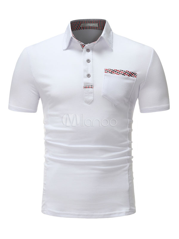 Buy White Polo Shirt Cotton Patchwork Summer T Shirt Regular Fit Short Sleeve T Shirt for $19.79 in Milanoo store