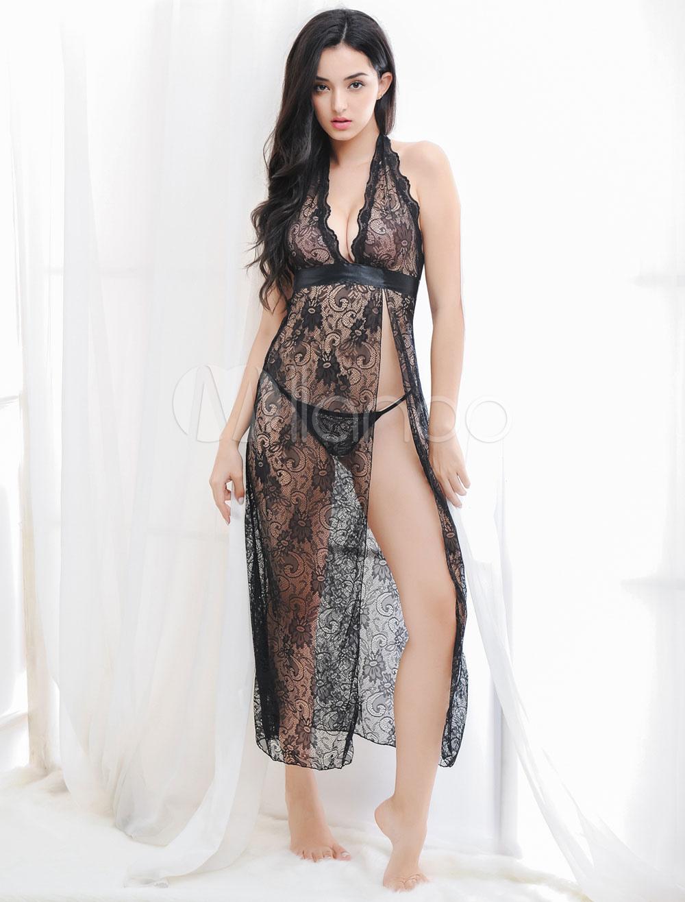 4485172758ed0 فستان نوم سبليت باللون الأسود الساحر للنساء - Milanoo.com