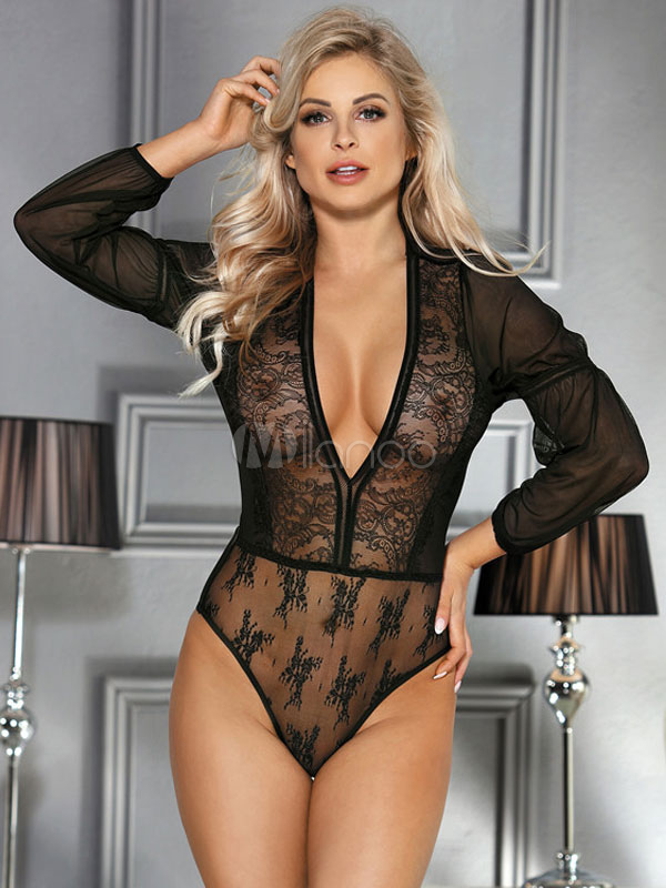 0d499e53014 Women Sexy Teddy Lace Plunging Neck Semi Sheer Lingerie - Milanoo.com