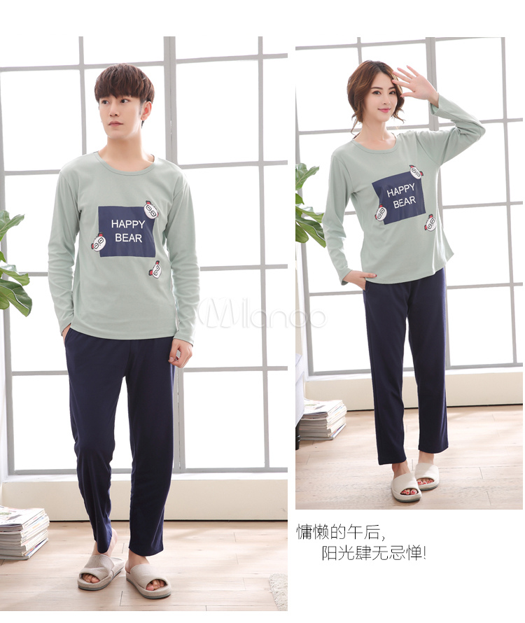 Buy 2 Piece Pajama Set Graphic Print Long Sleeve Cotton Lounge Wear for $20.99 in Milanoo store