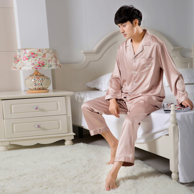 Buy Men Cotton Homewear Long Sleeve Lounge Wear Solid Color 2 Piece Pajama Set for $34.39 in Milanoo store