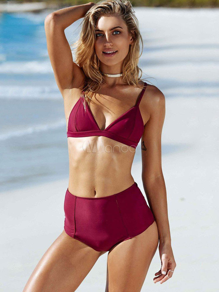 Buy Two Piece Swimsuit Straps High Waist Bathing Suit for $20.39 in Milanoo store
