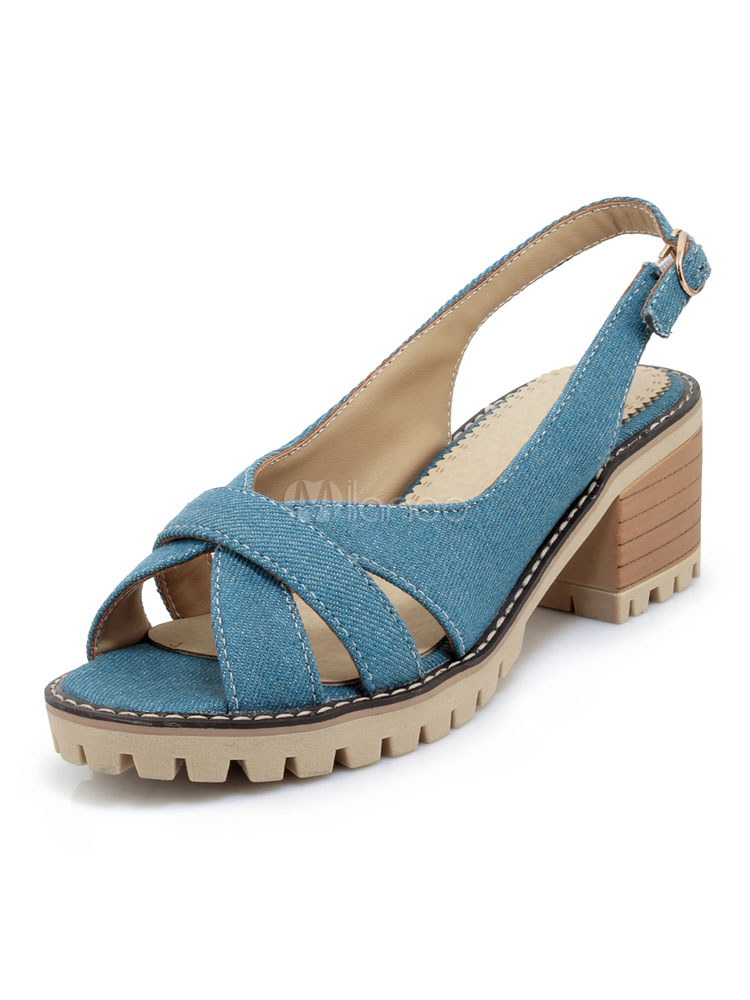 Buy Chunky Heel Sandals Women Shoes Light Blue Peep Toe Cut Out Slingbacks Sandal Shoes for $32.99 in Milanoo store
