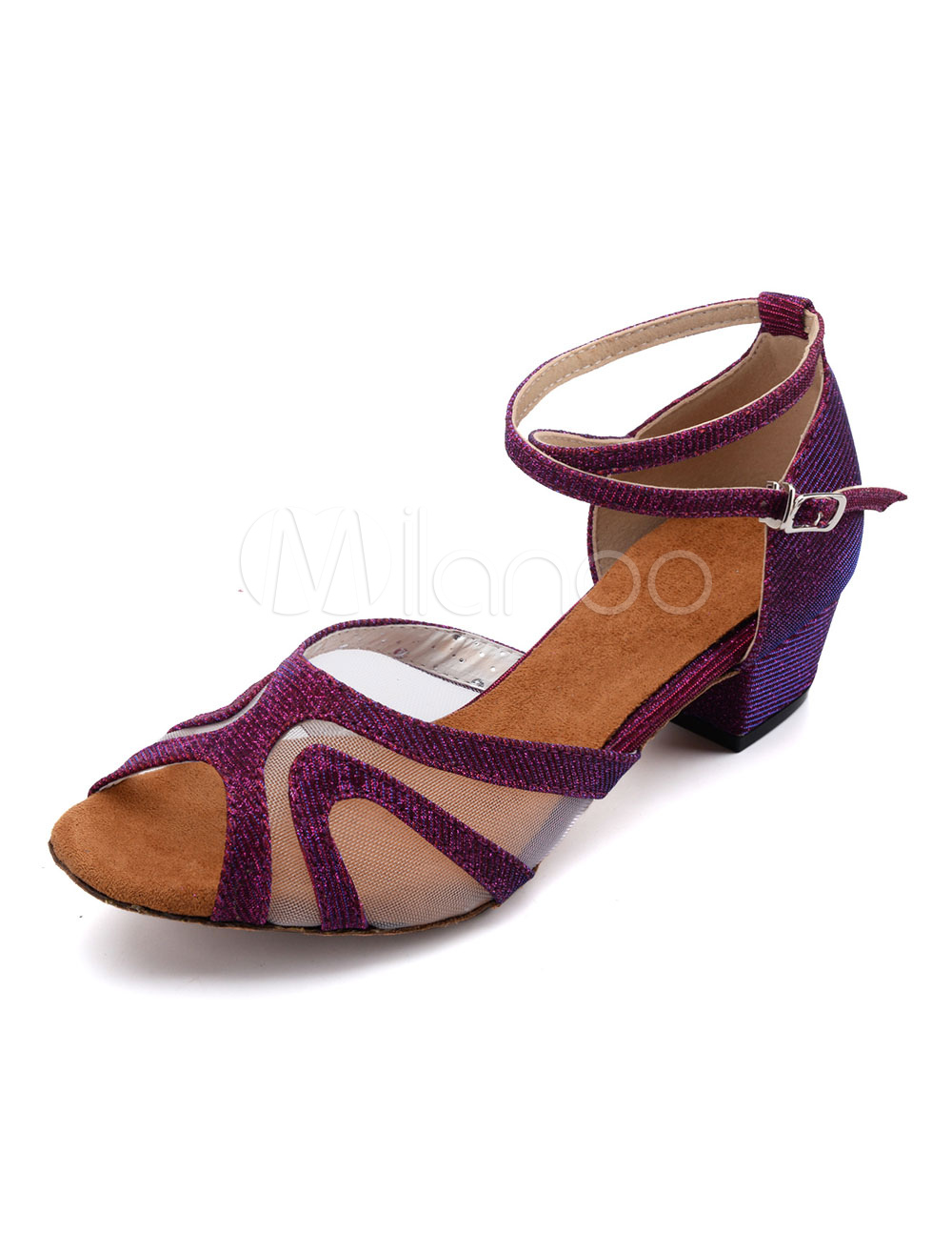 Latin Dance Shoes Glitter Peep Toe Criss Cross Ballroom Dance Shoes Salsa Dance Shoes