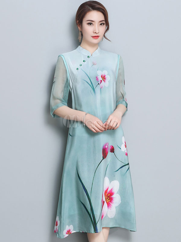 42a09f2c9c87 Floral Shift Dress Chinese Style Half Sleeve Stand Collar Green Summer Dress-No.1  ...