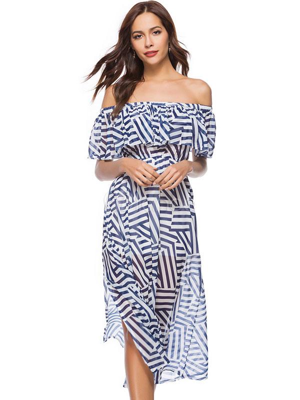 5091675940e936d Длинные летние платья с плеча с коротким рукавом сплит шифон синее платье  бардо-No.