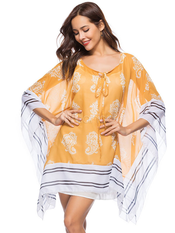 Buy Yellow Shift Dress Printed Chiffon Beach Dress Cover Up for $28.04 in Milanoo store