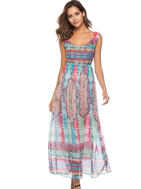 Buy Chiffon Maxi Dress Sleeveless Printed Light Blue Summer Dress for $31.44 in Milanoo store