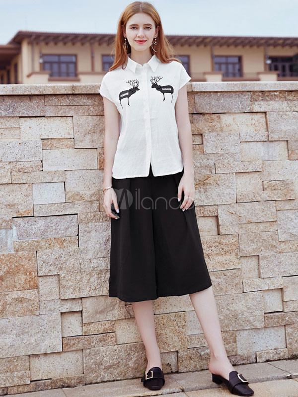 83107be34 Conjunto de dos piezas de mujer de manga corta con bordados animales camisa  blanca con pantalones ...
