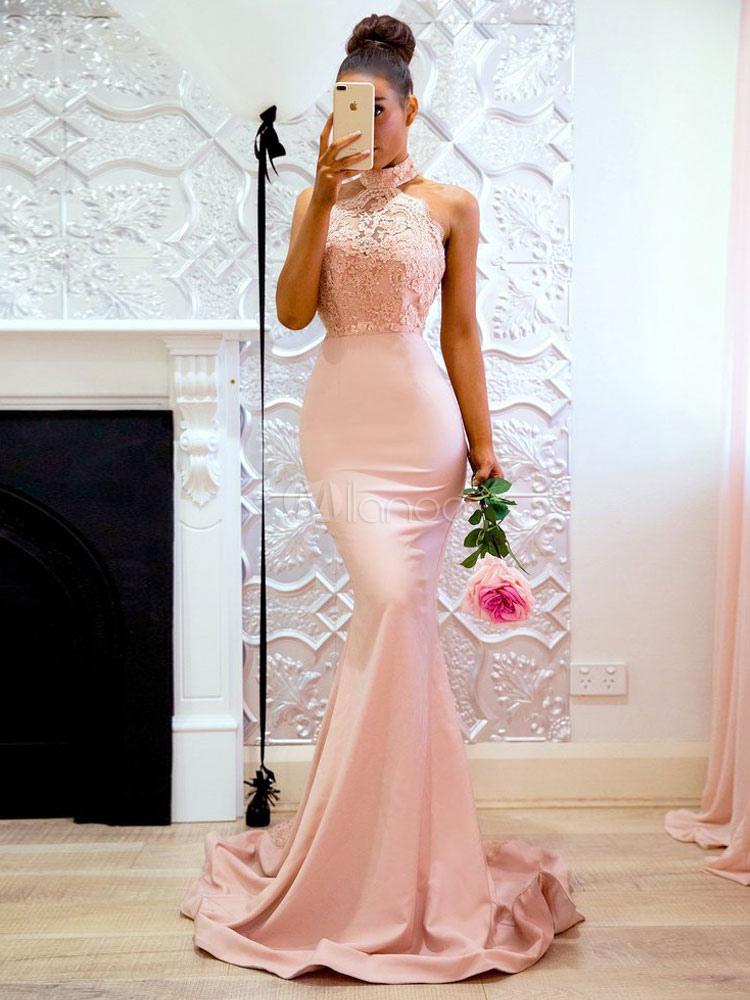 Robe longue rose poudre dentelle