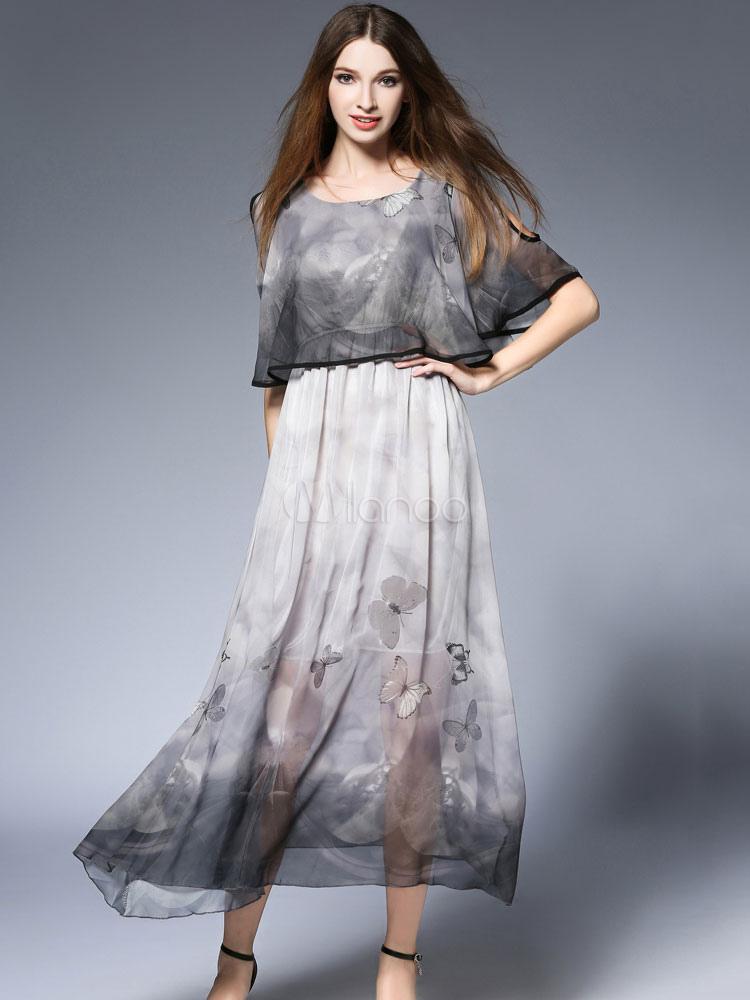 cc892a110 Maxi vestido de verano media manga de impresión de mariposa falsa dos  piezas de gasa vestido ...