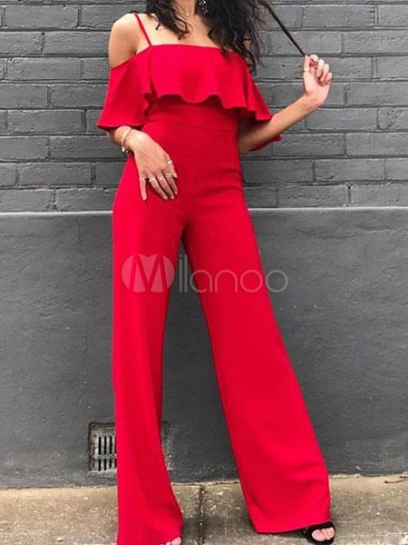 Buy Wide Leg Jumpsuit Half Sleeve Cold Shoulder Sexy Jumpsuit For Women for $19.19 in Milanoo store