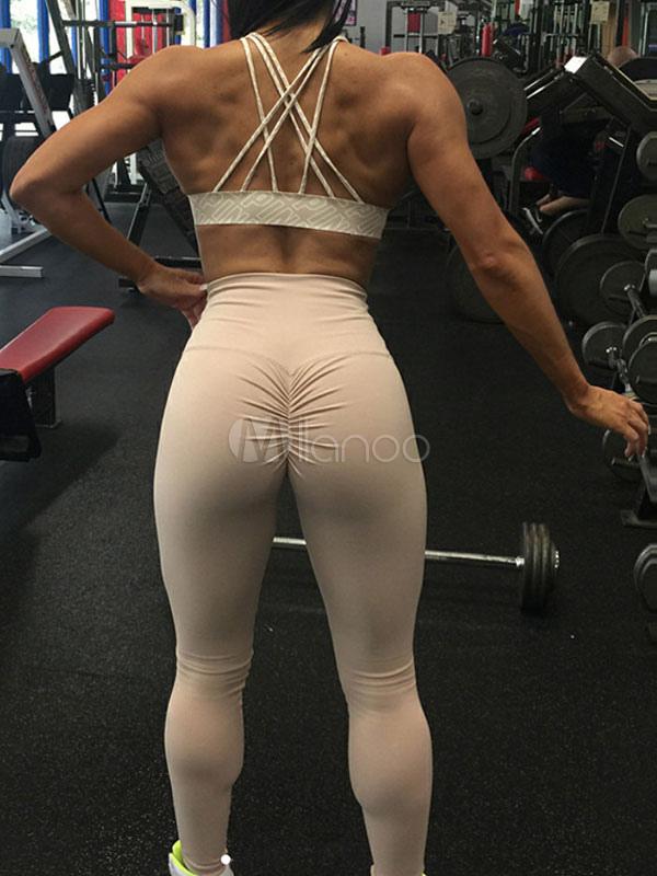 women skinny leggings ruched elastic waist shaping gym