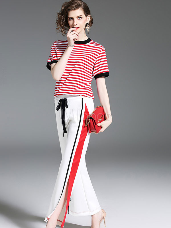 65646963b ... Camiseta de rayas rojas con manga corta y dos piezas para mujer con pantalón  blanco partido ...