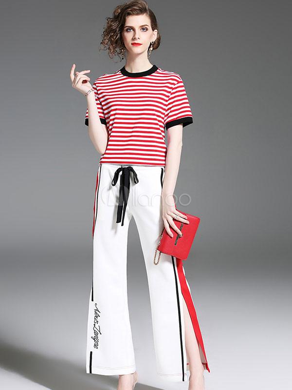 b6b01abdd Camiseta de rayas rojas con manga corta y dos piezas para mujer con pantalón  blanco partido ...